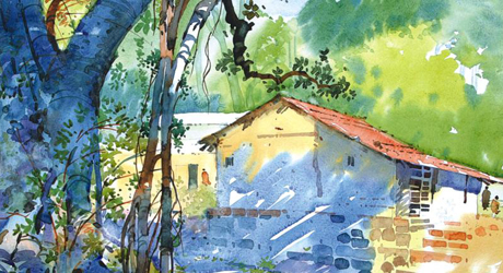 Watercolor Paintings Nature Indian Village Temple Pune